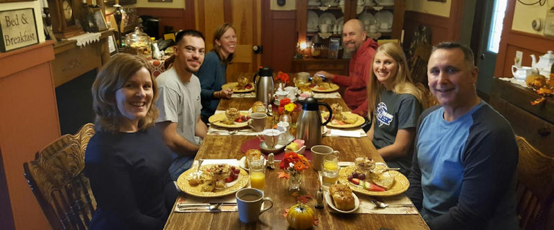 Guests enjoying Breakfast at Piney Hill Bed & Breakfast and Cottages