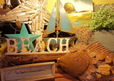 Beach items in the Country Barn Gift Shop