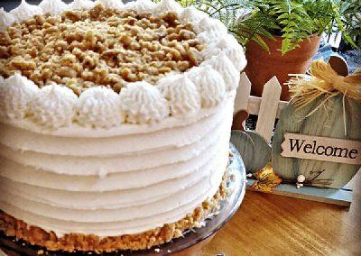 Praline Pumpkin Cake with Maple Butter Cream