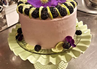 Lime Cake with Blackberry Butter Cream