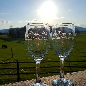 14 oz. Piney Hill Wine Glasses with Etched Logo