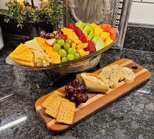 Fruit & Cheese Tray prepared for you at Piney Hill Bed & Breakfast and Cottages in Luray, VA